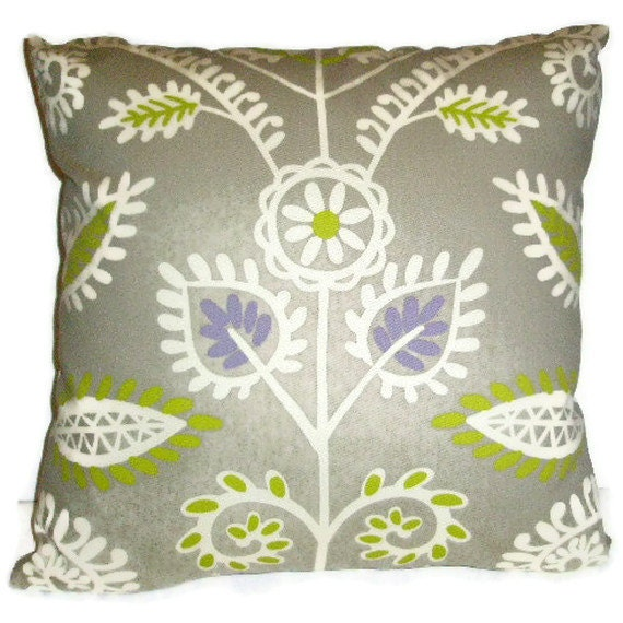 """Waverly Decorative Pillow Cover 18"""" X 18""""  Gray, Citron, Purple, and Off  White Waverly Fabric Throw Pillow"""