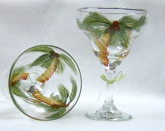 Margarita Glass Palm Trees Hand Painted