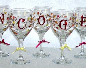 Autumn Leaves Red Wine Glass Hand Painted
