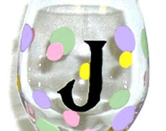 Wine Glass Personalized Polka Dots Hand Painted