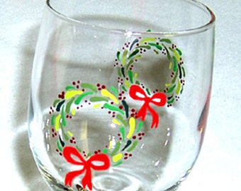 Wine Glass Christmas Wreath Hand Painted