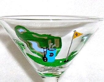 Golfing Martini Glass Hand Painted
