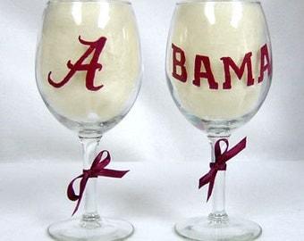 Wine Glass Alabama Crimson Tide Hand Painted