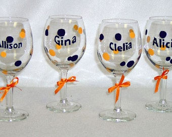 Personalized Wine Glass Polka Dots Hand Painted