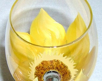 Sunflower Wine Glass Hand Painted