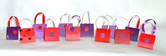 Set of 24 Red and Purple Purse Party Favors with Hershey Nugget Candy