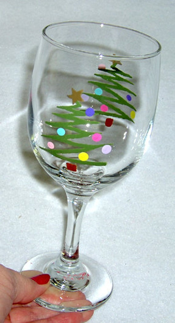 Christmas trees wine glasses page two christmas wikii for Christmas glass painting