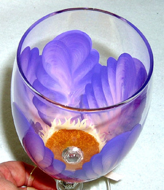 Water Goblet - Water Glass Purple and Pink Flower Hand Painted