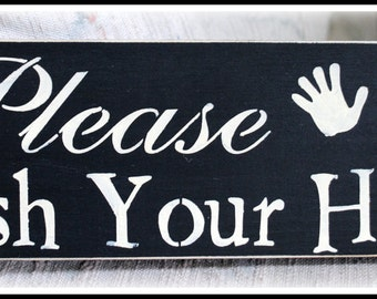 Wood sign - Please Wash your hands