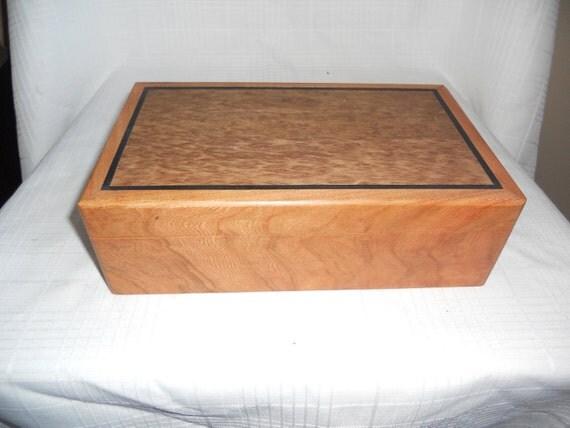 Cherry &  Maple Burl with Ebony inlay Jewelry box