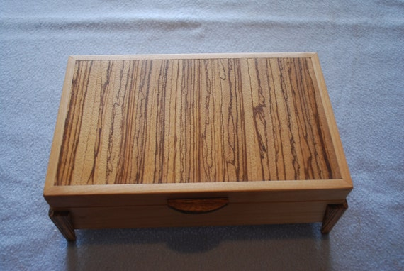 Figured Maple & Zebrawood Jewelry Box with Zebrawood legs and handle