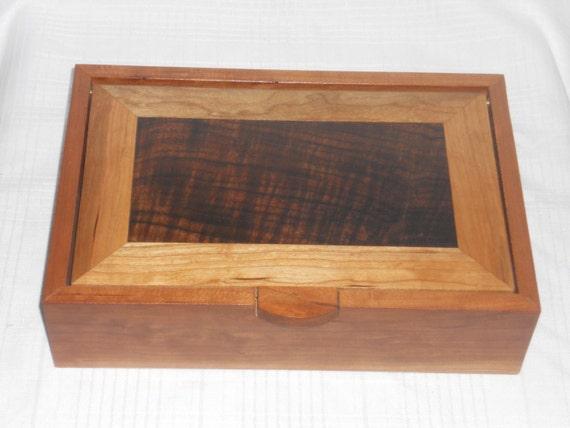 Cherry, Figured Walnut and Figured Cherry Jewelry Box Box