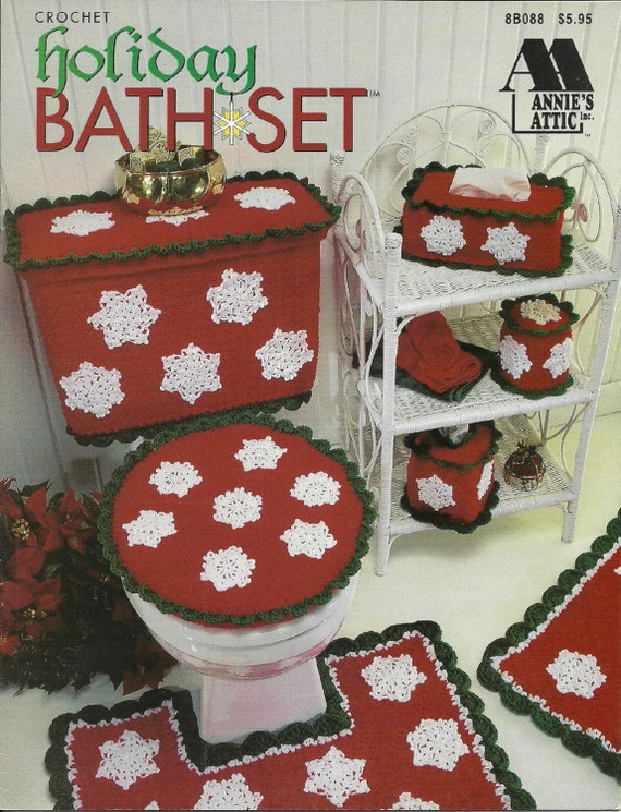 Holiday bath setcrochet bathroom decor pattern book for Bathroom xmas decor