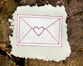 White Heart Sealed Envelope Print on green
