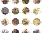 SALE!!!INSTANT Download - Lilac Digital Collage Sheet for 18mm Charm Pendants - Printable -  - Digital Download