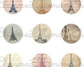 SALE!!! Eiffel Tower & Script Digital Collage Sheet Circles For 18mm Charm Pendants - Paris, French Digital Download #1 - INSTANT Download