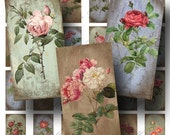 Rose Digital Collage Sheet / SALE!!! / Digital Download / Aged Vintage Floral Botanical Stained / Domino Size #1 / INSTANT Download