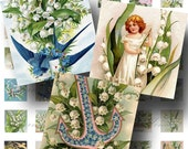 Lily of the Valley Digital Collage Sheet SALE!! Victorian Floral Flower Vintage Postcard Digital Download Scrabble Size #1 INSTANT Download