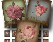Rose Digital Collage Sheet / SALE!!! / Digital Download / Aged Vintage Floral Botanical Stained / Scrabble Size #1 / INSTANT Download