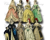SALE!!! Paper Doll Digital Collage Sheet - Printable Digital Download - Regency Era Fashion Ladies in Gowns #8 png + jpeg INSTANT Download