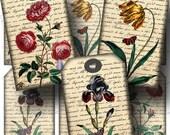 SALE!!!Floral Gift Tag Digital Collage Sheet - Digital Download - Aged Script -  - Printable INSTANT Download