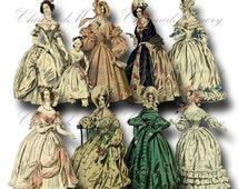 SALE!!! Paper Doll Digital Collage Sheet - Printable Digital Download - Regency Era Fashion Ladies in Gowns #7 png + jpeg INSTANT Download