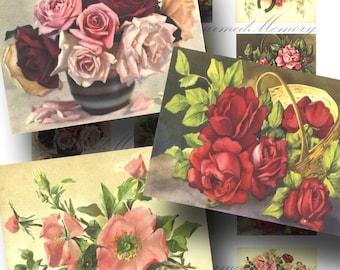SALE!!! Vintage Rose Digital Collage Sheet - Digital Download - Vintage Postcards - Printable INSTANT Download