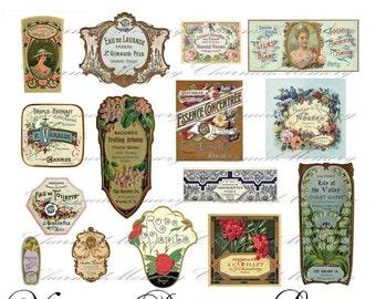 Perfume Label Digital Collage Sheet ON SALE!!! Digital Download / French Vintage Cologne Parfum Ephemera #3 Printable INSTANT Download