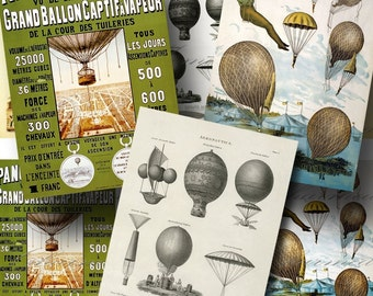 Vintage French Hot Air Balloon Digital Collage Sheet / SALE!!! / Digital Download / Steampunk Flying Poster ATC #1 / INSTANT Download