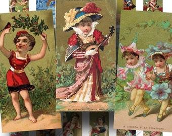 French Victorian Children SALE!!! Digital Collage Sheet - Vintage Chromo Cute Children Digital Download Domino Size #1 INSTANT Download
