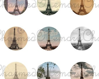 SALE!!! Eiffel Tower Digital Collage Sheet (1) Circles - Round for 18mm Charm Pendants - Paris, French Digital Download - INSTANT Download