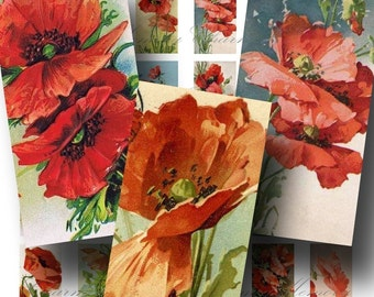 SALE!!! INSTANT Download - Victorian Poppy Digital Collage Sheet - Printable Images - Domino Size - - Digital Download