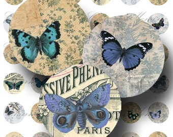 Blue Butterfly Ephemera Digital Collage Sheet ON SALE!!! Vintage Natural History Butterflies 1 Inch Circles Printable INSTANT Download