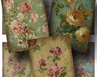 Vintage Wallpaper Digital Collage Sheet / SALE!!! / Digital Download Floral Aged ATC #1 / Flower, Rose, Romantic Pattern INSTANT Download