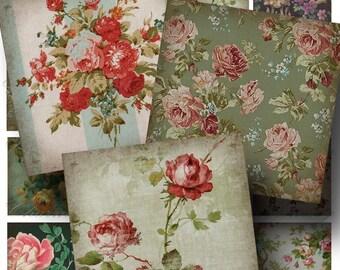 Vintage Wallpaper Digital Collage Sheet ON SALE!!! - Digital Download Floral Aged 2 Inch Square #1 - Flower, Rose, Pattern INSTANT Download