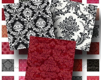 SALE!!!Red and Black Damask Patterns 1 inch square(1) Digital Collage Sheet -  - Printable INSTANT Download