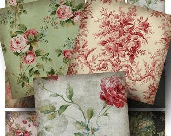 Vintage Wallpaper Digital Collage Sheet ON SALE!!! - Digital Download Floral Aged 2 Inch Square (2) - Flower, Rose, Pattern INSTANT Download