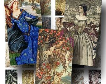 SALE!!!INSTANT Download - Arthur Rackham Fantasy Maidens Domino (2) Digital Collage Sheet -  - Digital Download