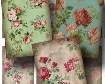 SALE!!!Wallpaper Digital Collage Sheet - Digital Download - Aged Floral ATC (2) -  - Printable INSTANT Download