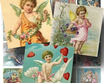 Vintage Angels and Cupids Digital Collage Sheet ON SALE!!! - Victorian, Cherub, Romantic Digital Download 2 Inch Square #1 INSTANT Download
