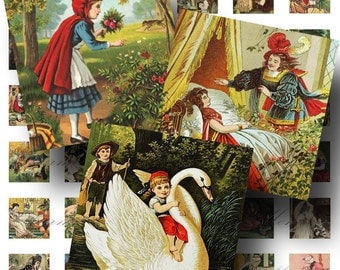 Vintage Fairy Tale Digital Collage Sheet SALE! Snow White Red Riding Hood Sleeping Beauty Digital Download 1 Inch Square #2 INSTANT Download