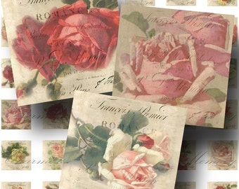 SALE!!!Roses Digital Collage Sheet - Digital Download - Romantic 1 Inch Square Printable Graphics -  - INSTANT Download