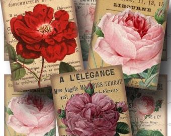 SALE!!!Rose Digital Collage Sheet - Digital Download - Vintage French Ephemera ATC (1) -  - INSTANT Download