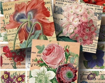 Floral Vintage French Ephemera Digital Collage Sheet ON SALE!!! Digital Download Aged, Flower, Rose, Poppy 2 Inch Square #1 INSTANT Download