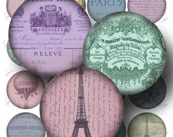 Paris Ephemera Digital Collage Sheet ON SALE!!! Digital Download - French, Eiffel, Vintage Aged Stained 2 Inch Circles #1 INSTANT Download