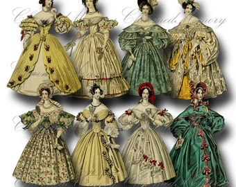 SALE!!! Paper Doll Digital Collage Sheet - Printable Digital Download - Regency Era Fashion Ladies in Gowns #1 png + jpeg INSTANT Download