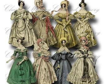 SALE!!! Paper Doll Digital Collage Sheet - Printable Digital Download - Regency Era Fashion Ladies in Gowns #2 png + jpeg INSTANT Download