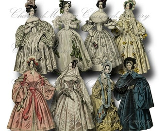 Paper Doll Digital Collage Sheet / SALE!!! / Printable Digital Download / Regency Era Fashion Ladies in Gowns #3 png + jpeg INSTANT Download