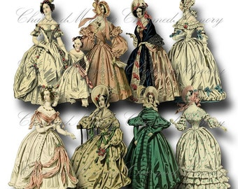 SALE!!! Paper Doll Digital Collage Sheet - Printable Digital Download - Regency Era Fashion Ladies in Gowns #7 png + jpeg INSTANT Download