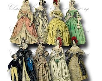 SALE!!!Paper Doll Digital Collage Sheet - Digital Download - Regency Fashion Ladies (8) png + jpeg -  - INSTANT Download